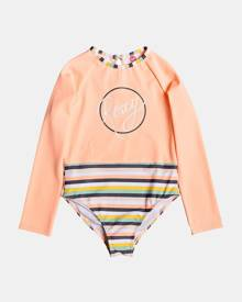 Roxy - Girls 2 7 Girl Lets Go Surfing LS UPF 50 Onesie - One-Piece / Swimsuit (SALMON CANDY STRIPES) Girls 2-7 Girl Lets Go Surf