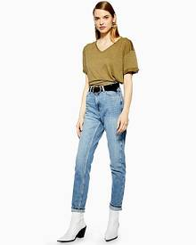 Topshop Tall Mid Blue Mom Jeans - Mid Stone