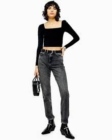 Topshop Considered Washed Black Rip Hem Mom Tapered Jeans - Washed Black