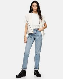 Topshop Bleach Wash Mom Tapered Jeans - Bleach Stone