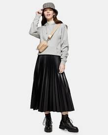 Topshop Black Pleated Pu Midi Skirt - Black