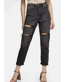 Topshop Washed Black Mom Tapered Jeans - Washed Black
