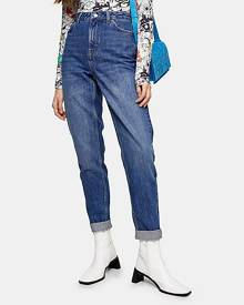 Topshop Bright Indigo Blue Mom Tapered Jeans - Indigo