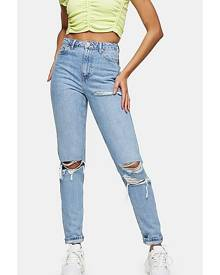 Topshop Tall Bleach Mom Tapered Jeans - Bleach Stone