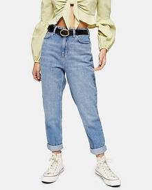 Topshop Petite Mid Stone Mom Jeans - Mid Stone