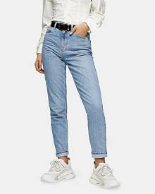 Topshop Bleach Stone Premium Mom Tapered Jeans - Bleach Stone