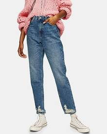 Topshop Mid Blue Ripped Hem Mom Tapered Jeans - Mid Stone