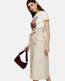 Topshop Stone Trench Belted Midi Skirt - Stone