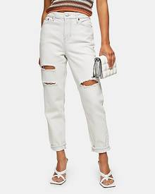 Topshop Petite Bleach Ripped Mom Tapered Jeans - Bleach Stone