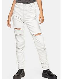 Topshop Tall Bleach Stone Ripped Mom Tapered Jeans - Bleach Stone
