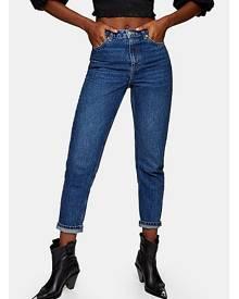 Topshop Bright Indigo Mom Tapered Jeans - Indigo