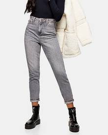 Topshop Idol Gray Mom Tapered Jeans - Grey
