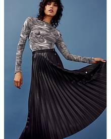 Topshop Black Pu Pleated Midi Skirt - Black
