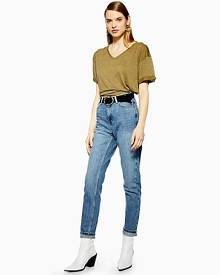Topshop Petite Mid Blue Wash Mom Tapered Jeans - Mid Stone