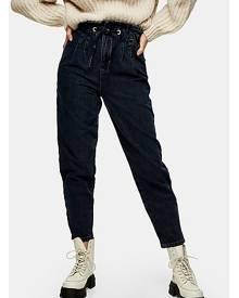 Topshop Blue Black Drawstring Mom Tapered Jeans - Blue Black