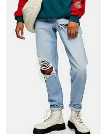 Topshop Bleach Super Ripped Mom Tapered Jeans - Bleach Stone