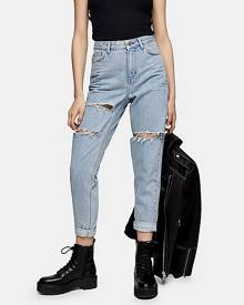 Topshop Bleach Mom Ripped Tapered Jeans - Bleach Stone