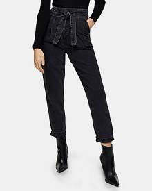 Topshop Washed Black Paperbag Waist Mom Tapered Jeans - Washed Black