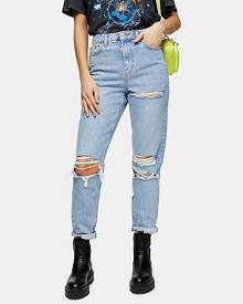Topshop Bleach Mom Tapered Ripped Jeans - Bleach Stone