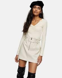 Topshop Cream Zip Paperbag Pu Skirt - Cream
