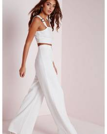 Missguided Crepe Wide Leg Pants White