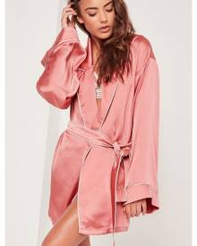 Missguided kimono piped detail satin dressing gown