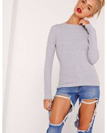 Missguided Grey Crew Neck Ribbed Top