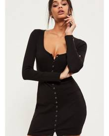 Missguided Ribbed Popper Mini Dress