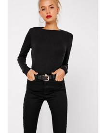 Missguided Black Crew Neck Ribbed Top