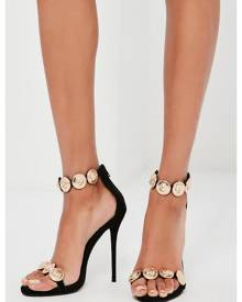 Missguided Black Embellished Strap Heeled Sandals
