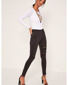 Missguided High Waisted Authentic Ripped Skinny Jeans