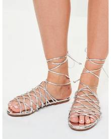 Missguided Knotted Ankle Tie Flat Sandals
