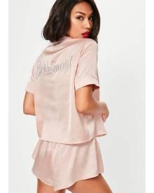 Missguided Satin Bridesmaid Piped Short Pyjama Set