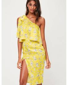 Missguided Floral One Shoulder Midi Dress
