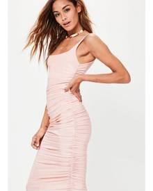 Missguided Slinky Gathered Side Midi Dress