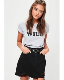 Missguided Ripped A Line Denim Mini Skirt