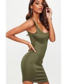 Missguided Scuba Square Neck Bodycon Dress