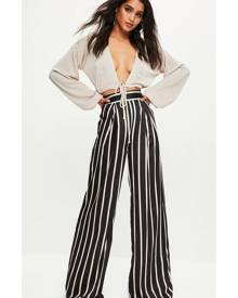 Missguided Black Striped Wide Leg Trousers