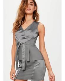 Missguided Crepe Satin Frayed Hem Mini Skirt