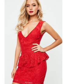 Missguided Lace Plunge Mesh Peplum Bodycon Dress