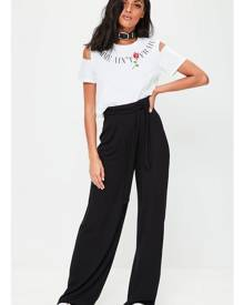 Missguided Black Casual Wide Leg Trousers