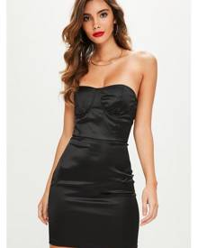 Missguided Satin Bustcup Bandeau Bodycon Dress