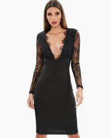 Missguided Lace Plunge Bandage Bodycon Dress