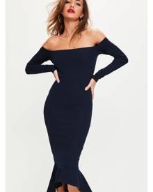 Missguided Bardot Fishtail Hem Dress