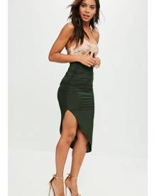 Missguided Ruched Side Asymmetric Midi Skirt