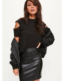Missguided Leather Mini Skirt Black