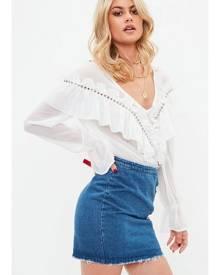 Missguided Denim Lace Up Detail Mini Skirt