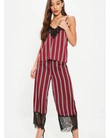 Missguided Lace Hem Stripe Wide Leg Culotte Trousers