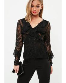 Missguided Wrap Ruffle Tie Lace Blouse