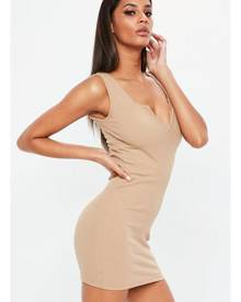 x Missguided Nude Ribbed Sleeveless Bodycon Dress